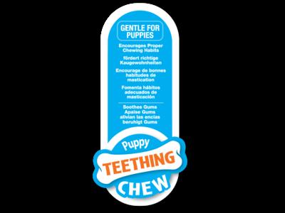 Puppy kauwbot voor wisselgebit met kipsmaak- Nylabone - In roze of blauw - X-small