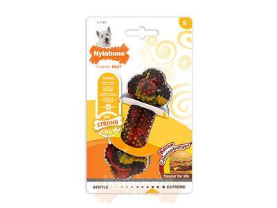 Nylabone Strong kauwbot met bacon- en cheeseburgersmaak