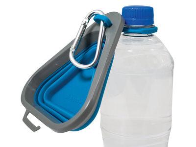 Kurgo Mash & Stash - Opvouwbare / inklapbare drinkbak voor onderweg - Blauw - S / M / L