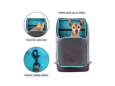 Stijlvolle Hondenrugzak voor kleine honden met diverse opbergvakken voor honden tot 11kg - Kurgo K9 Rucksack- Grijs 50x41x23cm
