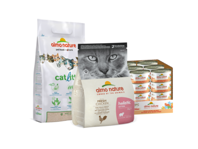 Almo Nature Kittenpakket voor Kittens - AdoptMe Starterskit - 1 zak Holistic, 24 x blikjes en 1 zak kattenbakvulling