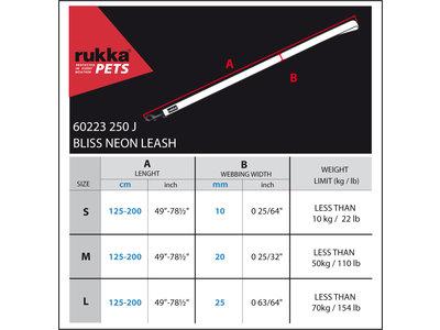 Rukka Pets Neon Bliss Adjustable Leash - Verstelbare neon hondenriem - Small, medium, large - Geel