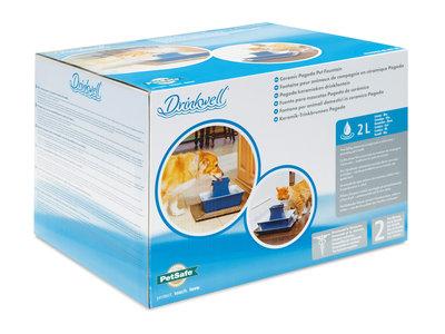 Drinkwell® Pagoda keramieken drinkfontein 2liter met vervangbare filter - Rood of Blauw
