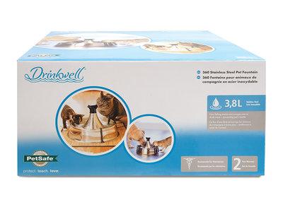PetSafe Drinkwell® 360 Stainless Steel Pet Fountain - RVS drinkfontein voor katten en honden - Met max. 5 vrijvallende waterstromen - Rond design, van alle kanten bereikbaar - 3,8 liter