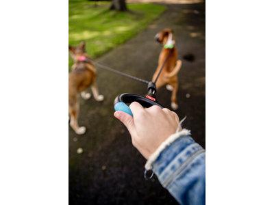 Wigzi Dual Doggie Gel Leash- Dubbele Hondenriem met anti-knoop - Small, Medium/ Large - Gel handvat
