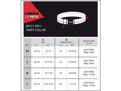 Rukka Pets Twist Collar - Duurzame hondenhalsband van gerecycled materiaal - X-small, small, medium, large - Turquoise, roze