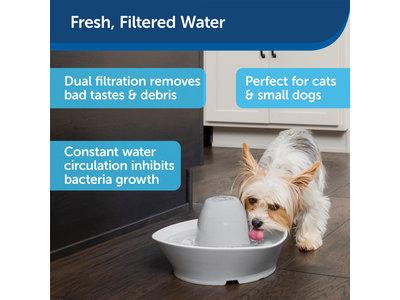 PetSafe® Streamside Ceramic Pet Fountain - Keramische drinkfontein voor katten en kleine honden - Water borrelt zacht over de toren - Door het design van alle kanten bereikbaar - 1,8 liter