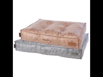 Scruffs Knightsbridge - Stijvol eco-leren hondenkussen - in bruin en grijs - maat medium en large