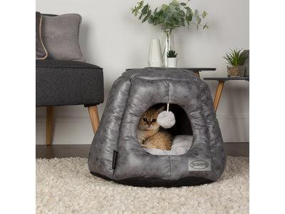 Scruffs Knightsbridge - Stijlvolle eco-leren kattenmand - in bruin en grijs