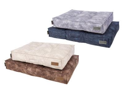 Scruffs Kensington - Stijvol eco-leren hondenkussen  -  in blauw, bruin, grijs of beige