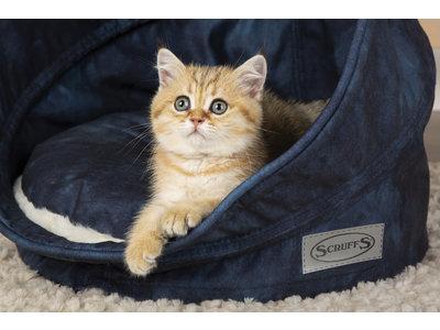Scruffs Kensington - Stijlvolle eco-leren kattenmand - in blauw, creme, grijs of bruin
