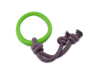 Speeltouw voor pups met bijtring - Zacht, Flexibel & Milieuvriendelijk - Beco Pets BecoHoop - Groen, Blauw of Roze in maat S/M/L