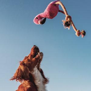 Pluche Hondenknuffel met Pieper Flamingo