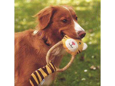 Beco Pets- Pluche Hondenknuffel met Pieper - Tilly de Tijger - Hennep en Katoenen Touw