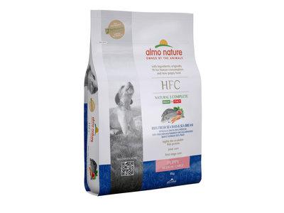 Almo Nature - Hond HFC Puppy brokken voor middelgrote tot grote honden - zeebaars en zeebrasem of kip - 8kg, 1,2kg