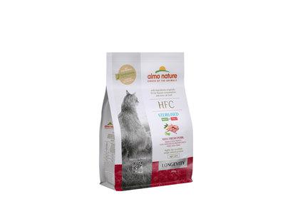 Almo Nature - Kat HFC Longevity Sterilized brokken voor oudere gecastreerde / gesteriliseerde katten - zeebaars en zeebrasem of varkensvlees - 1,2kg, 300gr