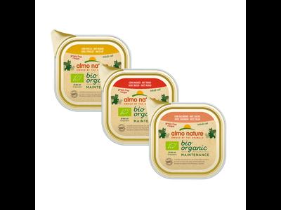 Almo Nature - Bio Organic natvoer voor katten - Rund, kip, zalm, kalkoen - 19 x 85g