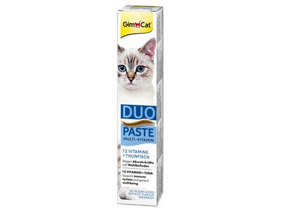 GimCat Multi-Vitamine Duo-Pasta - Aanvullend kattenvoer / kattensnack met 12 vitaminen - met kaas of tonijn - 50gr