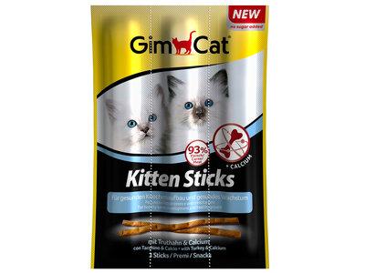 GimCat Kitten Sticks  - Aanvullend kattenvoer / kattensnack voor kittens - Kalkoen & Calcium - 3st