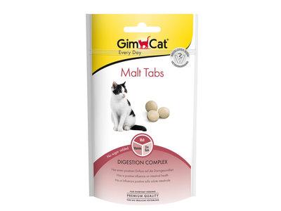 GimCat Malt Tabs - Aanvullend kattenvoer / kattensnack voor gezonde darmen - 40gr