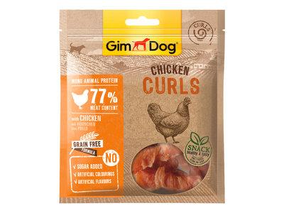 GimDog Chicken Curls - Aanvullend hondenvoer / hondensnack gemaakt van gevriesdroogd kippenvlees of eendenvlees - 55g
