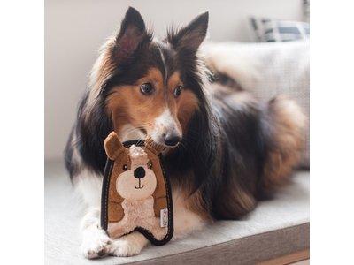 Sterke knuffel voor kleine honden met Speciale Onverwoestbare Pieper  - Outward Hound Invincibles - Chicky Geel / Penguin Blauw of Puppy Bruin