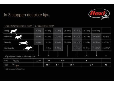 Flexi New Classic Tape - Oprolbare platte hondenlijn / bandlijn- zwart - maat Small en maat Large