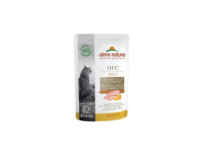 Almo Nature - Kat HFC Jelly - Natvoer voor katten - kipfilet en kaas, tonijnfilet en algen, tonijnfilet en kreeft - zakjes / pouches 55g