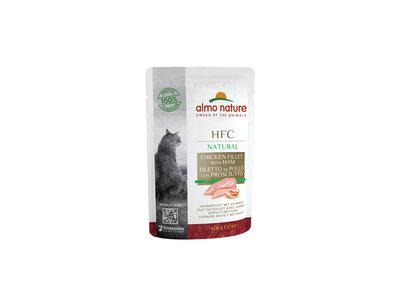 Almo Nature - Kat HFC Natural - Natvoer voor katten - kippenborst en eendenfilet, kipfilet met ham - zakjes / pouches 55g