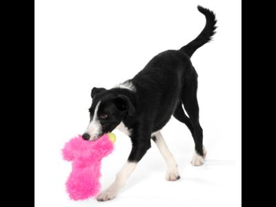 West Paw Rowdies™ Lewis - Duurzaam Pluche Hondenspeelgoed - Sterke Knuffel in Roze, Groen en Geel