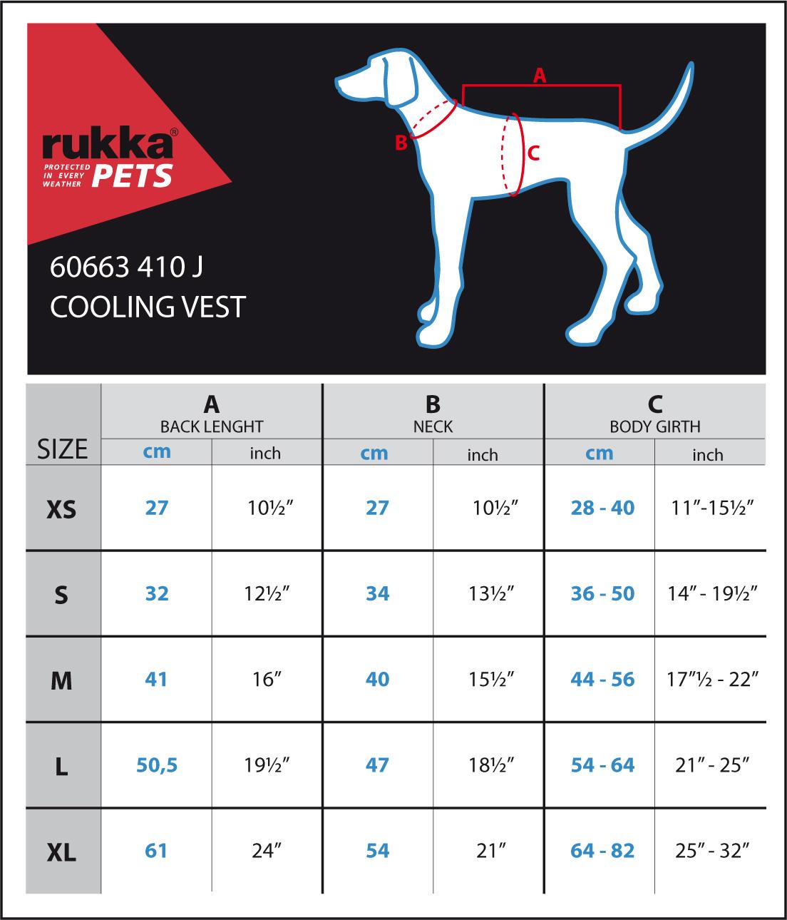 Maattabel RukkaPets Cooling Vest
