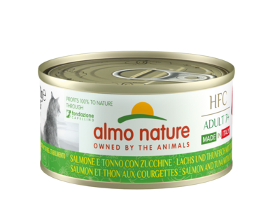 Almo Nature - HFC Complete Adult 7+ - Made in Italy - Zalm en tonijn met courgette - 24x70g