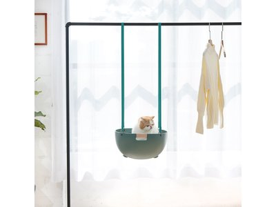 MS! Duku Cat Nest - 4 in 1 Kattenmand – Verkrijgbaar in Wit en Mosgroen - Comfortabel Kattenbed – Esthetisch ontwerp  – Design Kattenmeubel voor 2 Katten