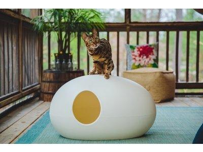 SinDesign - Poopoopeedo - Trendy Design Kattenbak in Zwart, Rood, Oranje, Groen en Wit - Inclusief Grindschepje en Anti-Geur tabletten - 70 x 40 x 40 cm