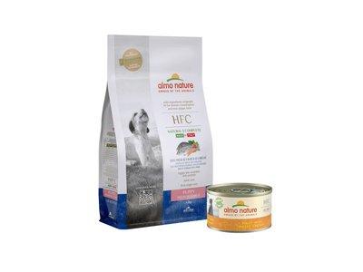 Almo Nature HFC Puppy pakket voor middelgrote hondenrassen - 1x HFC Droogvoor Puppy Zeebaars & Zeebrasem 1,2kg+ 24x HFC Natvoer Puppy kip 95g