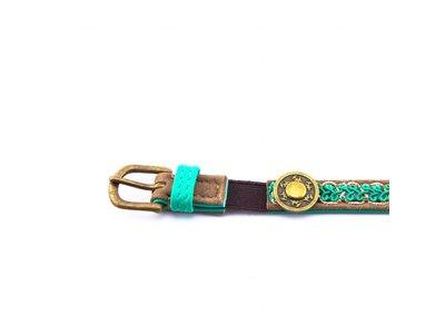 Leren Halsband voor Katten - One Size Verstelbaar 22-27cm  - Dun en Zacht Leer met Turquoise Look - Dog with a Mission Tommy