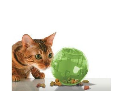Voerbal Speelgoed voor Katten voor 150 gram droogvoer of snacks - PetSafe SlimCat in Groen, Blauw, Oranje en Roze
