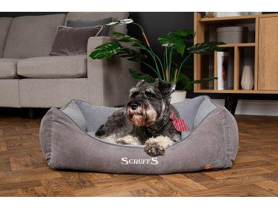 Scruffs Thermal Box Bed - Warme Hondenmand voor Koude Dagen met Superzachte Fleece hoes  - S/M/L/XL in Grijs, Bruin of Zwart