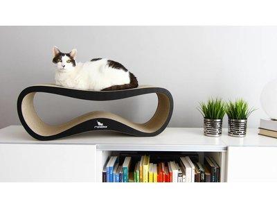 myKotty Lui - Design kartonnen krabmeubel - Wit, grijs, bruin, zwart - 75x25x25cm