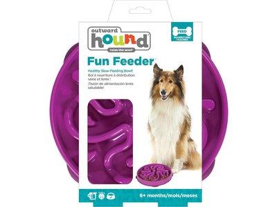 Anti Schrokbak Voerbak Honden - Outward Hound Fun Feeder Flower - Paars in maat S of L - door Dierenartsen aanbevolen Honden Voerbak