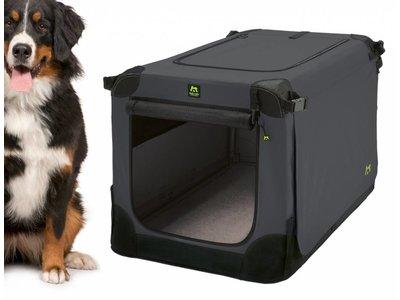 Maelson Soft Kennel - Robuuste hondenbench van zacht materiaal - Opvouwbare kennel met stevig stalen binnenframe - Zwart/antraciet - XXS / XS / S / M / L / XL / XXL