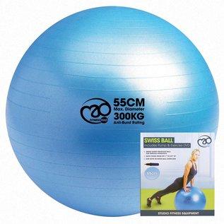 FITNESS MAD Fitnessbal 300kg anti-burst Swiss Gym Ball 55cm (1,1 kg) inclusief pomp en online fitness training lichaamslengte tot 167 cm licht blauw