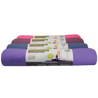 FITNESS MAD Evolution Yoga Mat 183 x 61 x 0.4 cm (1kg) super soft hygienisch TPE draagriem tweekleurig Paars Grijs