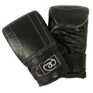 FITNESS MAD Premium Pro Bag Mitt Leather Zakhandschoenen Leer Maat L (Large) Zwart
