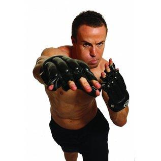 FITNESS MAD Zakhandschoenen leer vingerloos Maat L (Large) Zwart