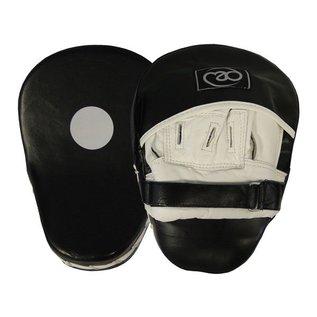 FITNESS MAD Curved Leather Hook & Jab Pads Lederen gebogen Hook & Jab pad Zwart Wit