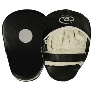 FITNESS MAD Curved Synthetic Leather Focus Pads Gebogen Hook & Jab pad synthetisch leer Zwart Wit