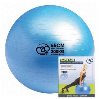 FITNESS MAD 300kg anti-burst Swiss Gym Ball 65cm (1.35kg) inclusief pomp en online trainingen lichaamslengte 167-178 cm licht blauw