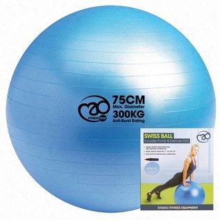 FITNESS MAD 300kg anti-burst Swiss Gym Ball 75cm (1.65kg) inclusief pomp en online training lichaamslengte boven 178 cm licht blauw