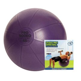 FITNESS MAD Studio Pro anti-burst 500Kg Swiss Gym Ball 55cm (1.3kg) with pump purple